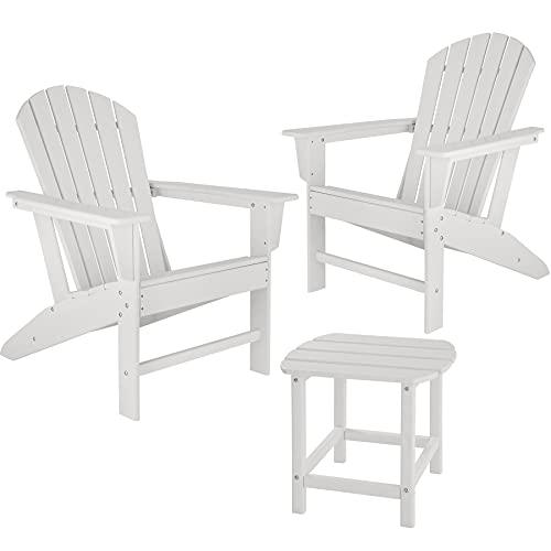 TecTake 2er Set Adirondack Gartenstuhl mit Beistelltisch, Holzoptik, Gartensessel mit Breiten Armlehnen und Tisch, für Garten, Terrasse und Balkon, wetterfest (Weiß)