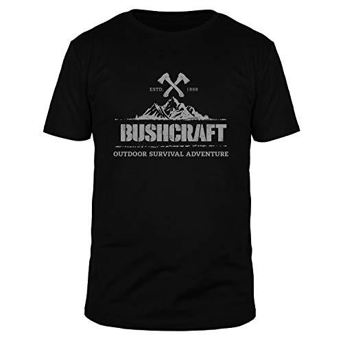 FABTEE - Bushcraft Outdoor Survival Adventure Herren Shirt | Plus Gratis Aufkleber Größen bis 3XL, Farbe:Schwarz, Größe:3XL
