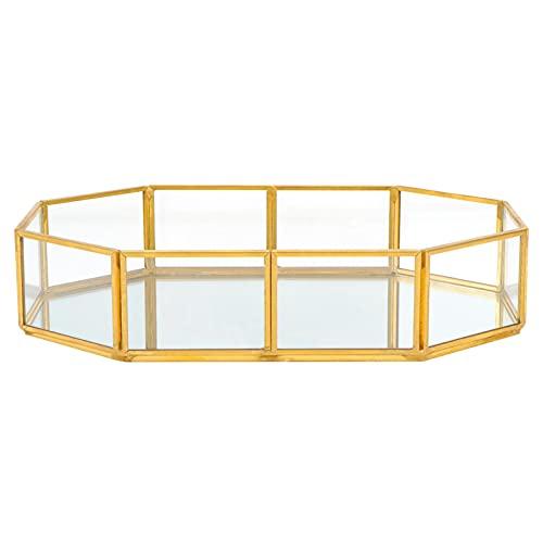 HEMOTON Bandeja de cristal de oro de la joyería de cristal de metal de maquillaje bandeja cosmética bandeja de cristal de la joyería de cristal plato vintage de la joyería del perfume de la encimera