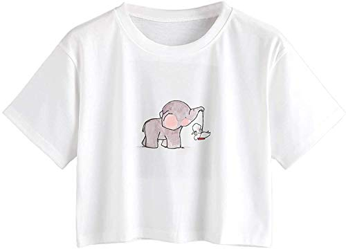 MakeMeChic Women's Short Sleeve Cute Print Crop Top Summer Tee Shirt White Elephant S
