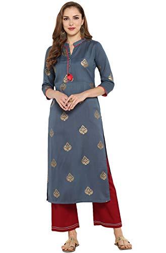 Janasya Indian Tunic Tops Poly Silk…