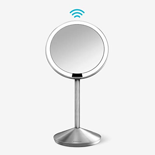 "simplehuman 5"" Round Mini Travel Sensor Makeup Mirror 10x Magnification, Rechargeable, Brushed Stainless Steel"