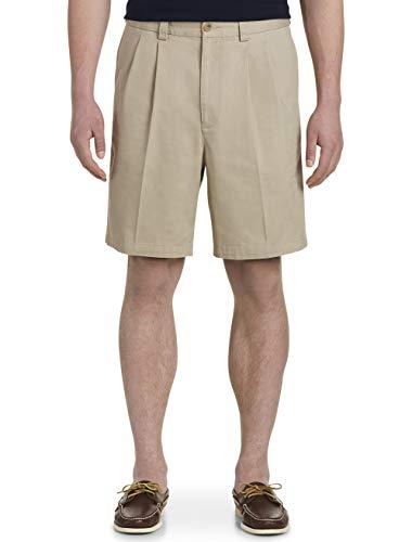 Harbor Bay by DXL Big and Tall Waist-Relaxer Pleated Twill Shorts, Khaki 48 Reg