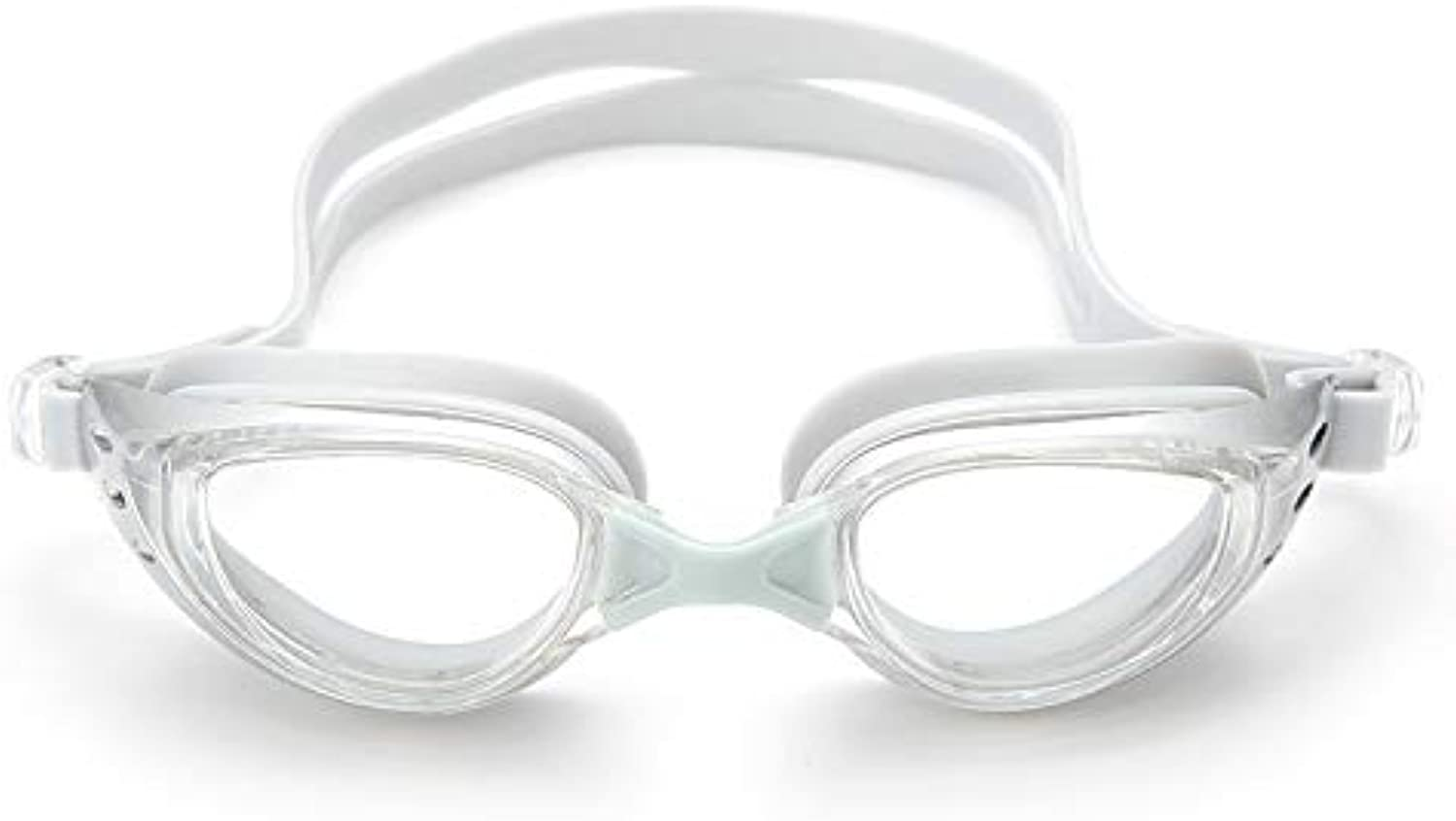 XZP Swimming Glasses, Waterproof AntiFog HD Goggles Large Frame Plating Flat Goggles for Men Women (color   White)
