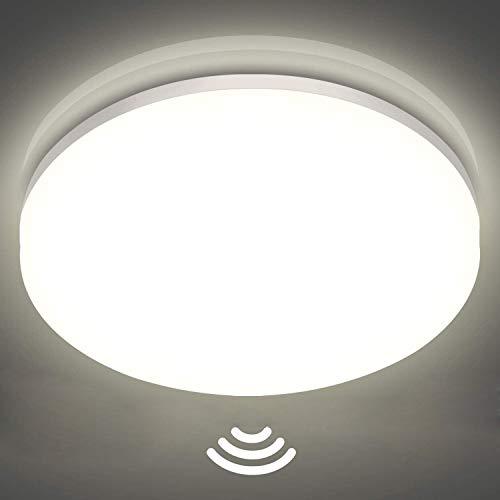 LED Deckenleuchte mit Bewegungsmelder Einstellbar , Oraymin 24W 2400LM LED Deckenleuchte IP54 Feuchtraumleuchte, 4000K Neutralweisse LED Deckenlampe für Bad,Balkon,Wohnzimmer,Flur, Küche,ø27.8CM