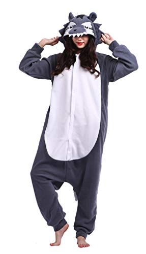 Adultos Animal Pijamas Cosplay Animales de Vestuario Ropa de Dormir Halloween y Carnaval Disfraces Lobo M