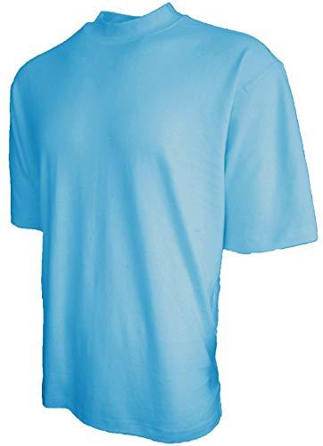 Good Life Brand 100% Cotton Mock Turtleneck Shirt Short Sleeved Pre-Shrunk 4 Colors (XL, Sky Blue)