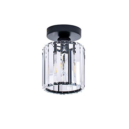 ShengQing Black Semi Flush Mount Light with Clear Crystal Shape Modern Industrial Ceiling Lighting Fixture for Dining Room, Bedroom, Kitchen, Corridor, Hallway, Entryway, Bar