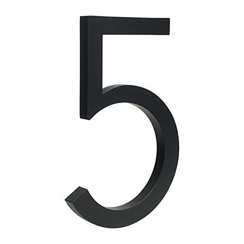 HASWARE Número de casa flotante de 6 pulgadas (15 cm) Números de puerta con estilo Placa del alfabeto Números de dirección de casa de la calle (5, Negro)
