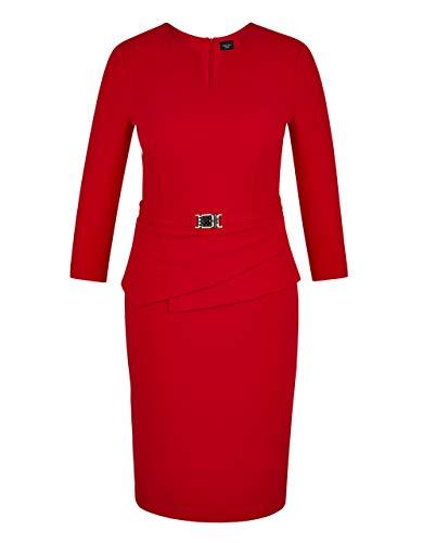 Bexleys Woman by Adler Mode Damen Crêpe-Kleid mit Gürtelbesatz rot 50