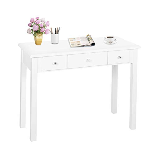 Home Office Small Writing Desk with Drawers Bedroom, Study Table for Adults/Student, Vanity Makeup Dressing Table Save Space Gifts White (White)