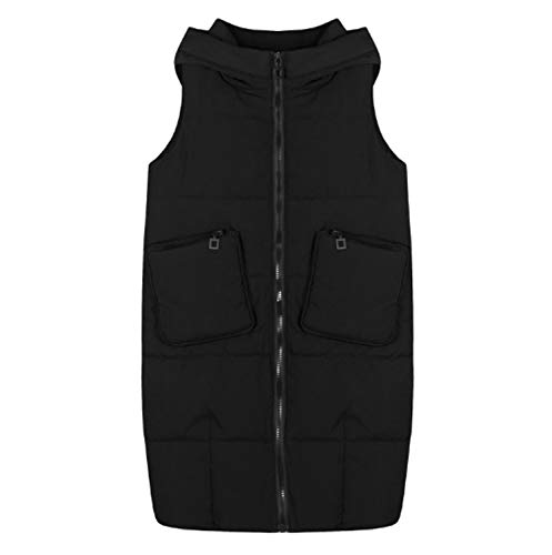 GL SUIT Dames Winter Lange Hooded Gilet Body Warmer Vest Grote Maat Gewatteerde Gilet Outdoor Gewatteerde Taillejassen Mouwloze Winterjas Jassen voor Wandelen Reizen