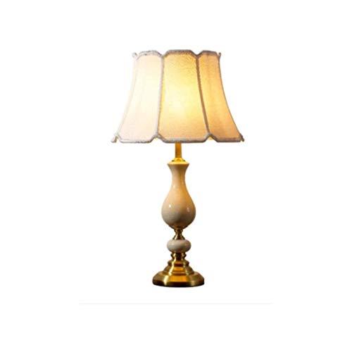 Sqqslzy American Country Copper Cerámica Mesa Lámpara Retro Dormitorio Lámpara de noche Sala de estar Iluminación moderna