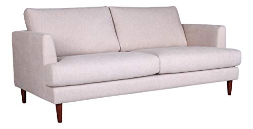 "Amazon Brand – Rivet Canton Deep Mid-Century Modern Loveseat Sofa Couch, 76.7""W, White"