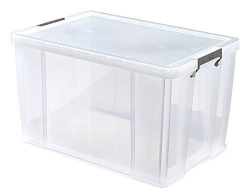 Whitefurze, Scatola Contenitore in plastica Trasparente con Morsetto Argentato, capacità 85 Litri