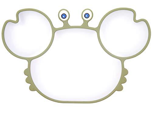 Piatto per bambini in silicone, Tappetini Antiscivolo con forte aspirazione adatta FDA e BPA Portatile per seggiolone e viaggi per Neonati Tovaglietta Piastra Divide (Crab Matcha)