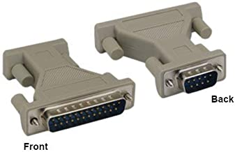 KENTEK DB9 DB25 Male to Male M/M Serial at Modem Adapter Gender Changer Coupler RS-232 Molded Peripheral Printer