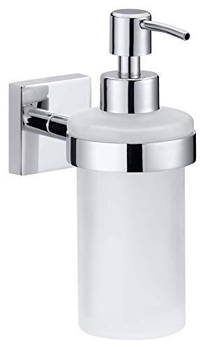 Tesa ekkro Seifenspender (verchromt, satinierte Glasflasche (200ml, nachfüllbar) inkl. Klebelösung, 170mm x 70mm x 125mm)