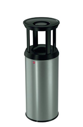 Hailo 0950-129 ProfiLine Combi Plus 50 Liter Ascher-Papierkorb-Kombination, alu-grauweiß / schwarz-matt