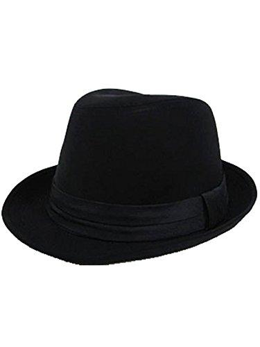 (エイト) 8(eight)シンプルなネクタイ生地中折れハット黒帽子 ブラック