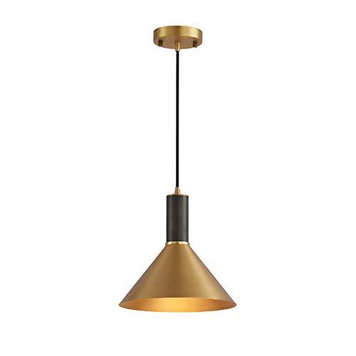 Moderno colgante de cobre luz E27 Socket Gold Black Lights Suspended Lightsure, lámpara colgante del techo nórdico para la cocina de la isla de la cocina Dormitorio de la sala de estar (oro + negro) [