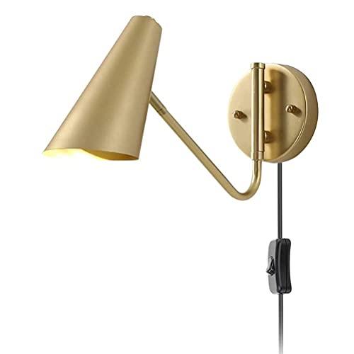 Aplique de pared ajustable Lámpara de noche de dormitorio dorado con interruptor de encendido / apagado, Lámpara de pared de metal moderna Lámpara de lectura con enchufe de cable de 1,5 M, Aplique de