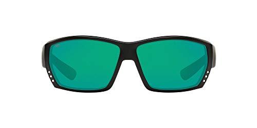 Costa Del Mar Men's Tuna Alley 580G Polarized Rectangular Sunglasses, Matte Black/Copper Green Mirrored Polarized-580G, 62 mm