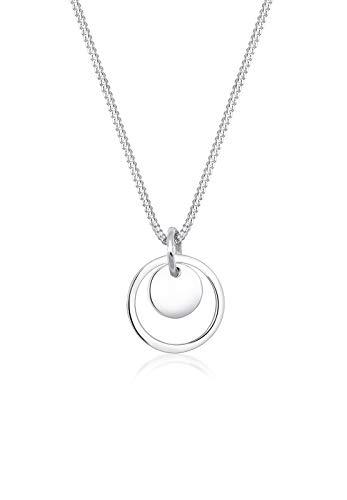 Elli Collares Colgante de Plaqueta Círculo de Damas Geo en Plata Esterlina 925