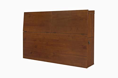 Memomad Kopfteil für Bett Bali Karamell für Betten bis 160cm breit - Funktions-Kopfteil mit viel Stauraum – Modernes Kopfende aus Massiv Holz Kiefer