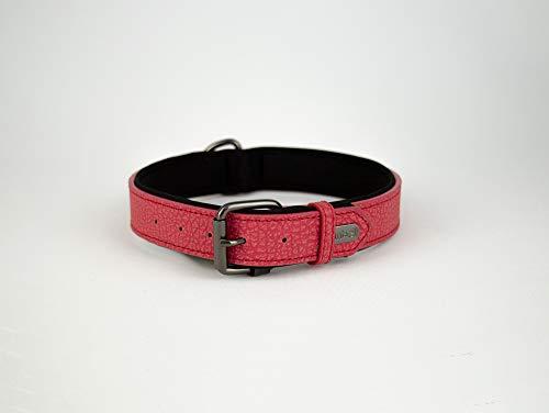 Collar para perros de piel suave acolchada con anillo en D para perros medianos y grandes (rojo)