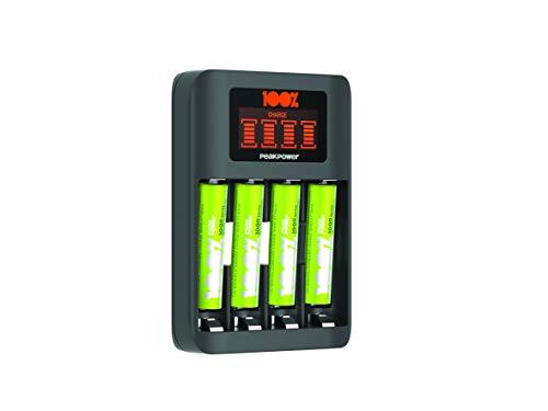100% PeakPower Premium Akku Ladegerät AAA & AA, NiMH Batterieladegerät mit Einzelschacht-Ladung und LCD Display und 4 Akkus AAA 800mAh