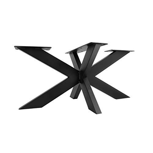 TISCHGESTELL SPIDER | Natural Goods Berlin Design Kreuzgestell Schwerlast massiv Tischkufen Stahl Tischbeine Metall | DIY | einfache Montage (H43 x B58 x L98cm (Couchtisch), Schwarz)