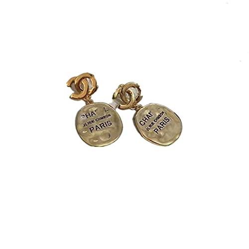 HUALUWANG Pendientes-Mujer-Logo Pendientes Metal, Diseño Afortunado, Elegante, Lujosoy Sencillo, Dorado