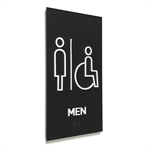 Kubik Letters Men + Accessible Restroom Sign, Grade 2 Braille Tactile Sign, Modern Door Sign for Men Restroom with 3M Double Sided Tape