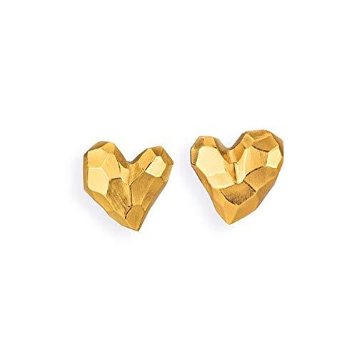 Drachenfels edle Ohrstecker in Echtsilber goldplattiert | Kollektion Heartbreaker | Elegante Design Ohrringe für Damen in Herzform | D HE 26/AGG