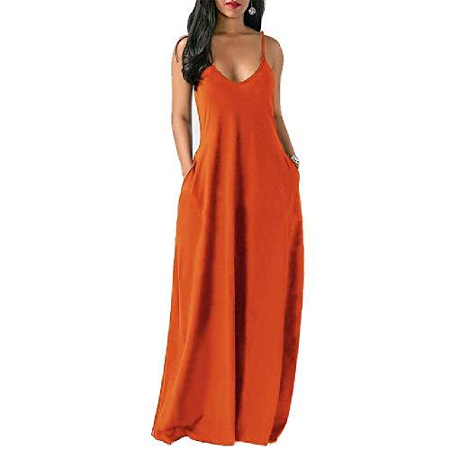 Vestido Largode MujerVeranoSuelto Correas de Espagueti Sexy Bolsillos sin Mangas VestidoLargo deColor sólido Vestidos de Playa Casuales de Talla Grande