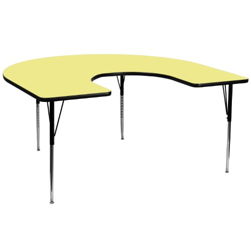 Flash Furniture 60''W x 66''L Horseshoe Yellow Thermal Laminate Activity Table - Standard Height Adjustable Legs