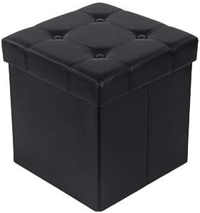 SONGMICS 38 cm Pouf Cubo Poggiapiedi Sgabello Pieghevole Carico Max. 300 kg Nero LSF30B