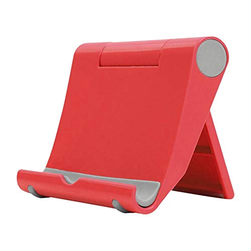 happysdh Tablet Stand Adjustable Desk Mobile Phone Holder Foldable Portable Video for online learning, work at home and office (Red)