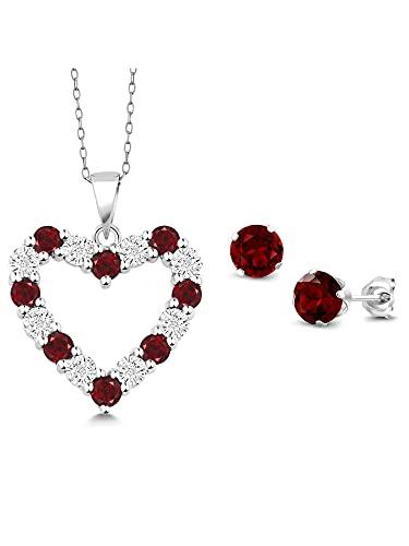 Ani's Juego de pendientes y colgante de corazón de plata de ley 925 de corte redondo D/VVS1 y diamante rojo granate de 18 pulgadas