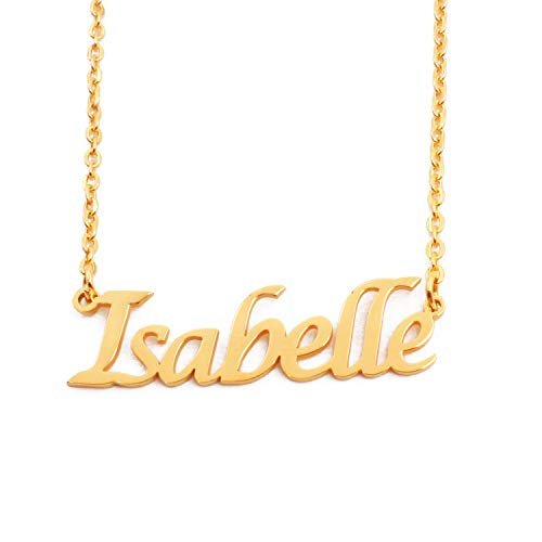 Kigu Isabelle Name Necklace Personalised 18ct Gold Plated, Custom Dainty Name Pendants, Jewellery for Ladies, Girlfriend, Mother, Sister, Friends Inc Bag & Box