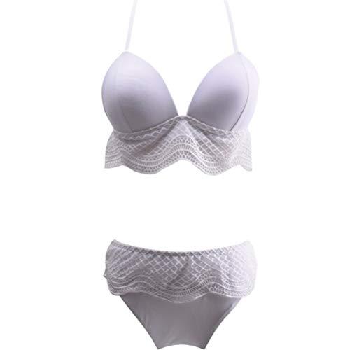 Schulterfrei mit V-Ausschnitt Swimwear Transparent Bikini Frauen Split Bikini, weißen Hohle-Strand-Badeanzug-dünne Spitze Zu 1015 (Color : A, Size : M)