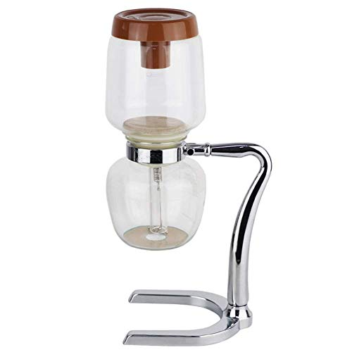 XUXUWA Coffee Pot Vacuum Coffee Maker Siphon Coffee Maker Coffee Siphon Pot Home Siphon Coffee Maker 3 Servings Siphon Brewing Coffee Household (Color : Silver, Size : 10.7×17.5x32cm)