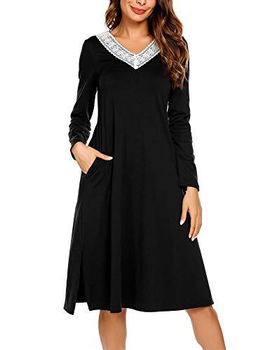 ADOME Damen Lang Nachthemd Langarm Sleepwear Spize am V-Ausschnitt Nachtkleid Still A-Linie Schlafkleid Casual Nachtwäsche Baumwolle Herbst Unterkleid schwarz XL