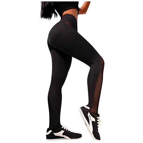 Pantalón de deporte para mujer, mallas de color liso, costuras de encaje, mallas de cintura alta, pantalones de fitness Slim Yoga Negro M