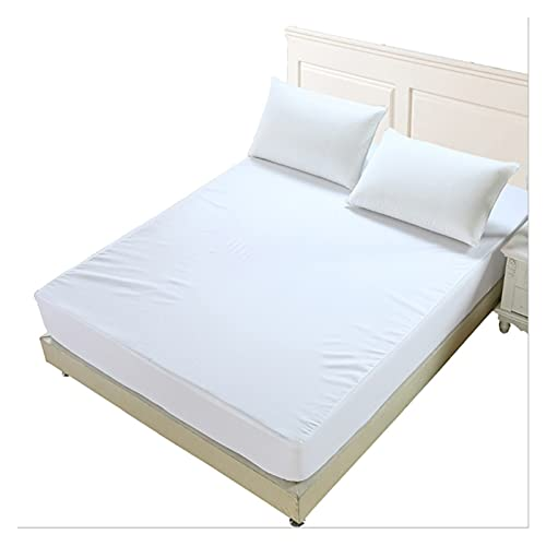 GO-AHEAD Sábana Cubierta de colchón de colchón impermeable sólido liso de la cubierta de la almohadilla anti ácaros del colchón para la cama del colchón del colchón Topper transpirable (sin funda de a