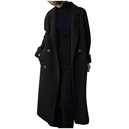 Manteau en Laine Femme Hiver Long Grande Taille Blazer Kimono Gilet Veste à Manches Longues Double Boutonnage pour Femmes Vestes Trench Coat Hiver Chaud Jacket Long Parka Overcoat Outwear S-XL