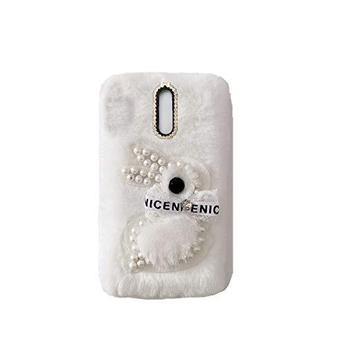 YHY Samsung J3 2017 EU Estuche Teléfono Móvil Estilo Lindo 3D Perla Linda Peluche De Conejo para Samsung Galaxy J3 2017 EU Blanco