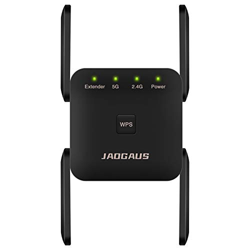 JAOGAUS Repetidor WiFi 1200Mbps, Amplificador WiFi Banda Dual de 5GHz/2.4GHz, Extensor WiFi con 1 Puerto Ethernet y 4 Antenas, Fácil de Configurar, Compatible con Todos Los Enrutadores