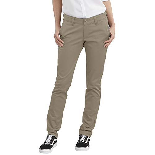Dickies Women's Straight Flex Twill Pant, Rinsed Desert Sand, 16